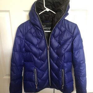 Guess Down Filled Puffer Jacket with Silver Zipper